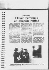 Fabienne Alliou-lucas,Co-commissaire avec Brigitte Fontaine, Galerie Arena, ENSP/ Exposition de Claude Ferrand un coloriste raffiné ; Arles,France