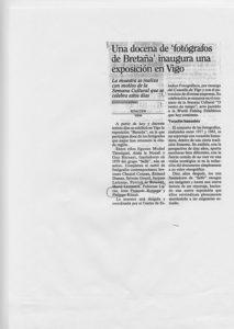 """Fabienne Alliou-lucas,Article de Presse en Espagne, """"Una docena de fotografos de bretana inaugura una exposición en Vigo"""" Participation à l'exposition collective,1989"""