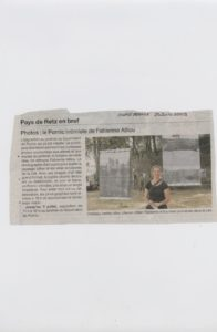 """Exposition de Baches photographiques """"Pornic"""" au Jardin de Gourmalon, Pornic,France,Article presse fabienne alliou-lucas,2009"""