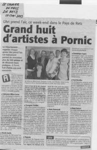 """Article du Courrier du Pays de Retz ,17/05/2013, """"Grand huit d'artistes"""" à Pornic;Participation de fabienne alliou-lucas"""