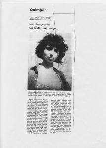 """Fabienne Alliou-lucas, article de presse Ouest-France, """"Un texte , une image"""" Participation au Mai photographies à Quimper / L'article cite fabienne alliou-lucas"""