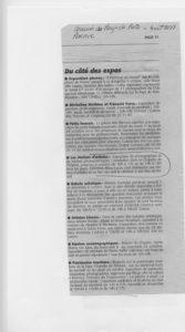 """Fabienne Alliou-lucas, article de Presse, Le Courrier du Pays de Retz du 4:10:2013pour l'exposition """" Les ateliers d'artiste"""" exposition de photographie à la Chapelle de l'hôpital, Pornic, France"""