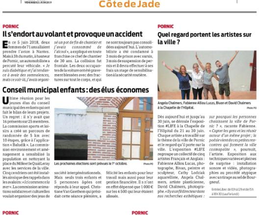 article sur l'exposition #LIFE, Pornic, juin 2019, Chapelle de l'hôpital